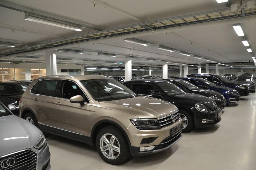 Her selges det 1.500 brukte biler i år, og det er god fart på både bensin- og dieselmodeller. Foto: Frank Williksen