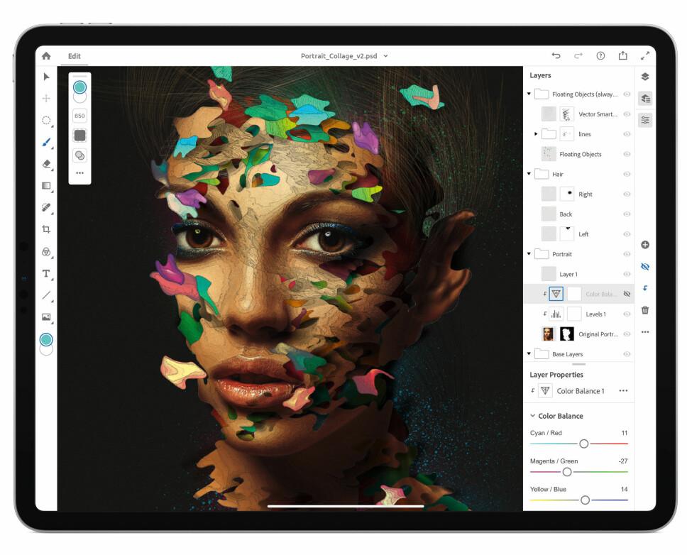 <b>KRAFTIG MASKIN:</b> At fullversjonen av Photoshop kan kjøres på iPad Pro demonstrerer hvilket beist av en maskin nettbrettet er. Appen er imidlertid ikke lansert til iOS ennå, som samtidig demonstrerer hvorfor mange ikke vil kunne benytte nettbrettet som eneste jobbmaskin - programvaren du trenger finnes ikke.