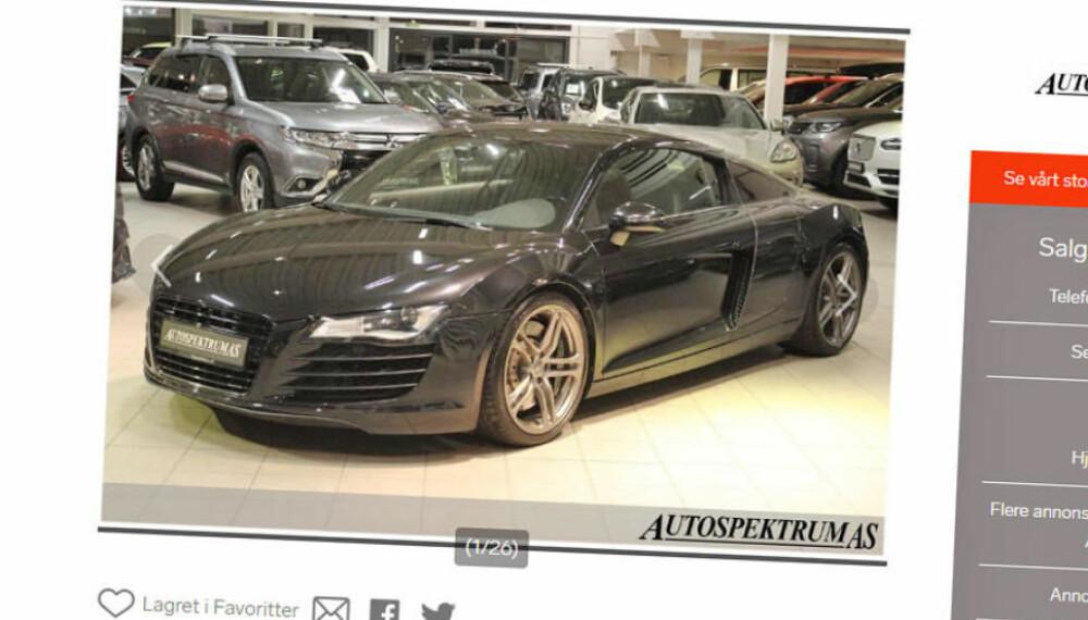 FINN: Audi R8 til litt over 600.000 kroner. Da begynner det å bli oppnåelig for ganske mange ...