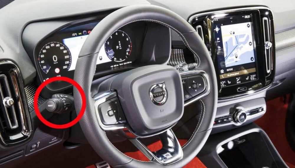 BRUK DENNE: Jo, hendelen til venstre på rattet har en viktig funksjon. Og den må brukes...