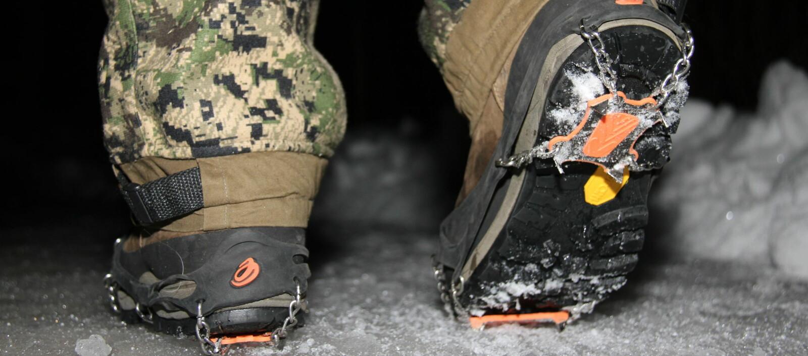 <b>ISBRODDER:</b> Vi har testet isbrodder som har godt grep både framme og under hælen.