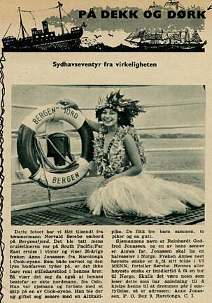 1964: Anne Jonassen på det norske cruiseskipet Bergensfjord. Hun var der med resten av søskenflokken for å underholde.