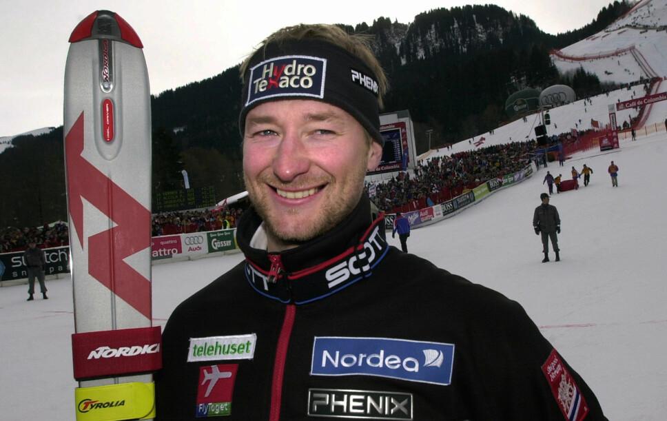 <b>LEGENDE:</b> Aamodt kom på andreplass i Hahnenkamm-rennet i 2002.