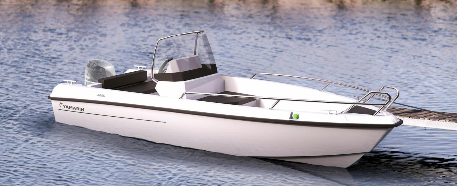 <b>YAMARIN 46 SC: </b>Den første 3D-illustrasjonen av Yamarin 46 SC viser en båt med rene, enkle linjer.