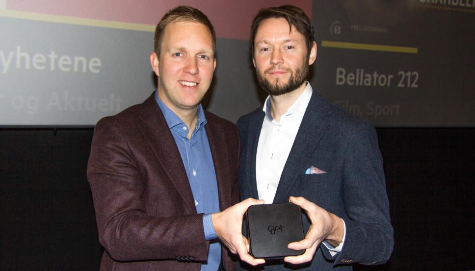 <b>NY GET BOX:</b> Torbjørn Aamodt og Espen Åtland (th) i Get lanserte i dag ny TV-boks, nytt brukergrensesnitt og nye strømmetjenester.