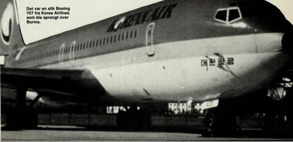 <b>SPRENGT:</b> Det var en Boeing 707 fra Korean Airlines som ble sprengt over Burma.