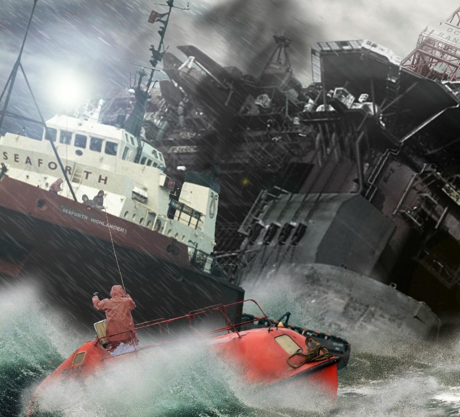 <b>KJEMPET:</b> Mannskapet på supplyskipet Seaforth Higlander forsøker å redde mannskap fra livbåten de satt i.