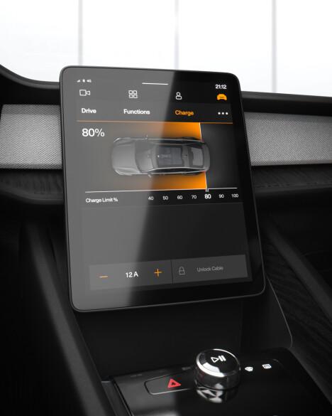 <b>STOR SKJERM:</b> Polestar 2 får en stor skjerm, men skjermen i Tesla Model 3 er større.