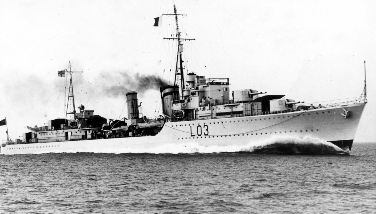 <b>SENKET:</b> HMS Cossack ble verdensberømt for sin rolle i overfallet på Altmark. Skipet ble den 27. oktober 1941 senket av den tyske ubåten U-563.