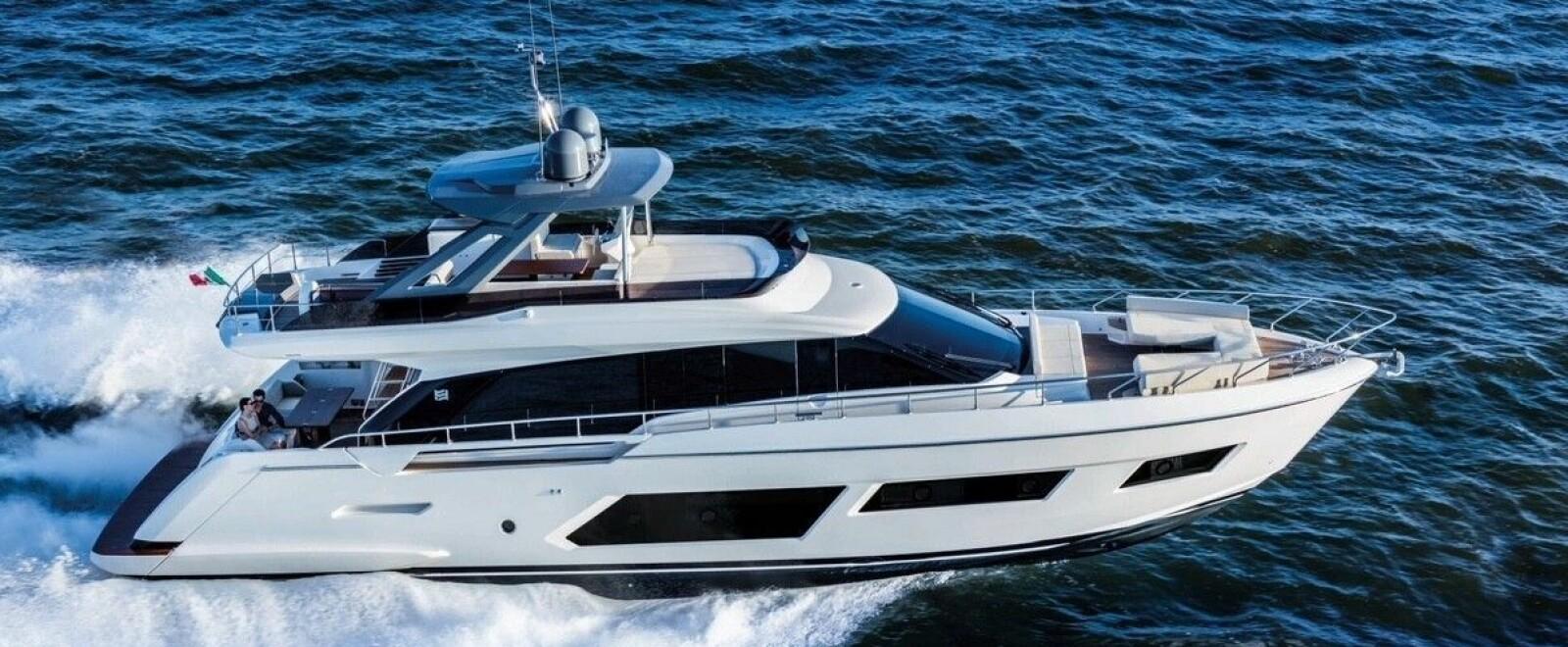 <b>DYRESTE:</b> Ferretti 670 er den største båten som vises i tilknytning til Sjøen for alle 2019. Pris: 29 millioner.