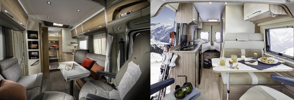 <b>LEILIGHET VS HYBEL:</b> En bybobil(t.h.) er trangere og interiørmessig mer minimalistisk enn bobiler flest.