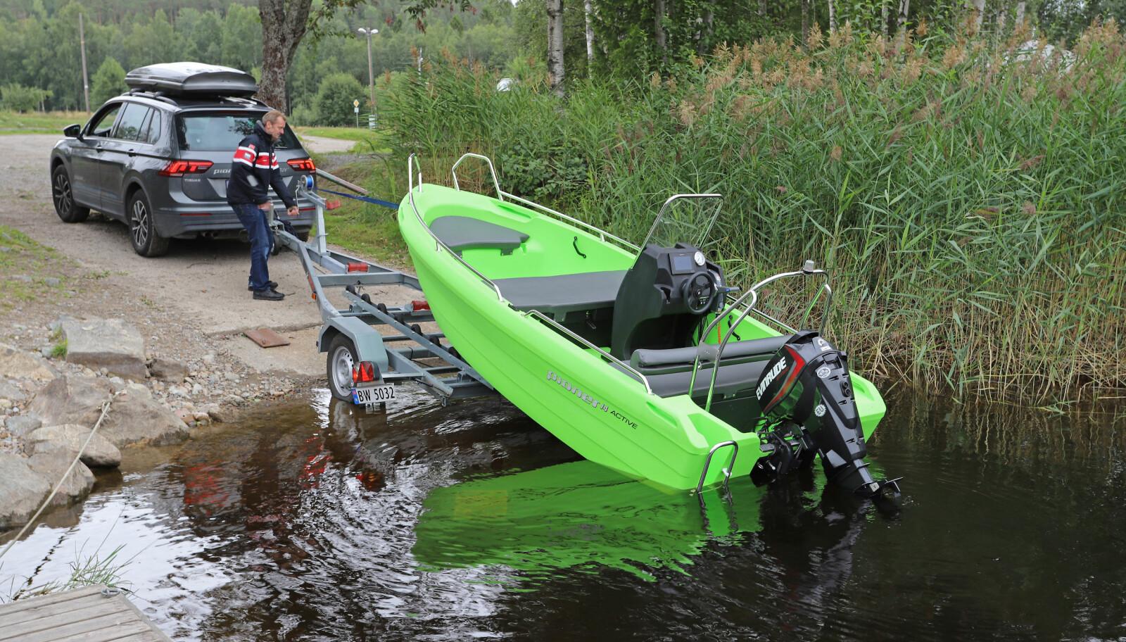 <b>PIONER 14 ACTIVE:</b> Hendig størrelse og vekt gjør dette til en enkel båt å ta med seg på henger.
