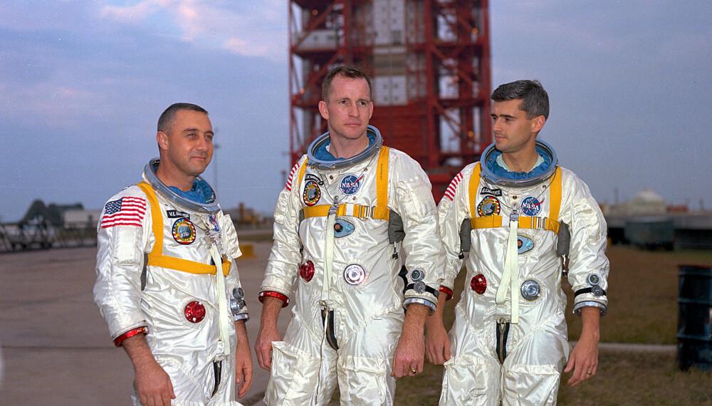 <b>TEST:</b> Apollo 1-astronautene; fra venstre Gus Grissom, Ed White og Roger Chaffee i sine romdrakter før en prøve ved Cape Kennedy Air Force Station.
