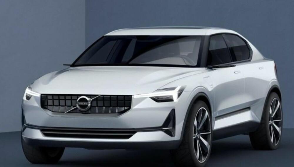 <b>KONSEPT:</b> Bildet viser Volvos konseptbil 40.2, det er ventet at Polestar 2 vil få mye til felles med denne. Volvos første elbil XC40 er for øvrig bygget på samme plattform.