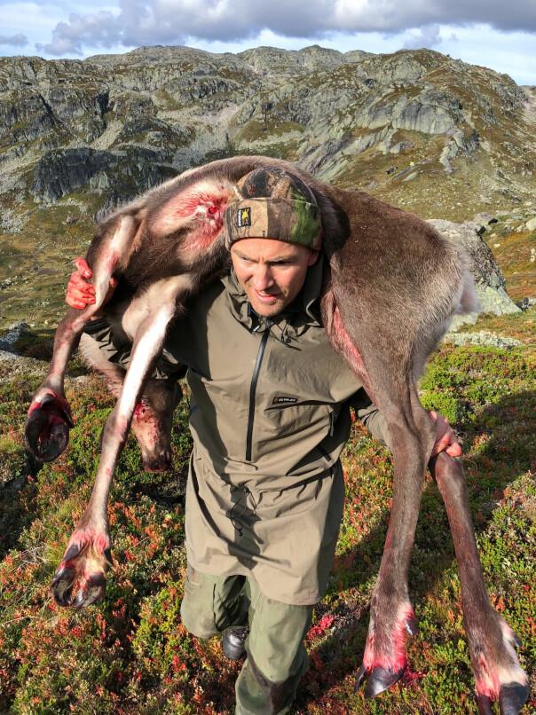 Tung bør hjemover med en reinsdyrsimle på skuldrene. Terrenget er Austheia i Setesdal, og jakten skjedde i august i fjor.