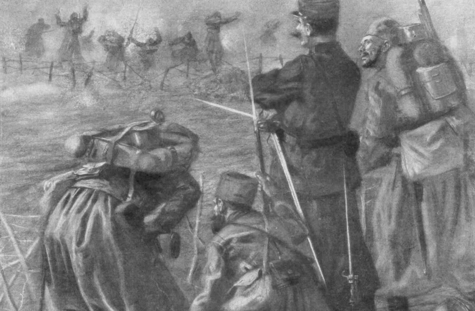 <b>FØRSTE KLORGASSDØD:</b> Franske og algeriske soldater (zouaves) segner om under det andre slaget ved Ypres i Belgia 22. april 1915. Mot slutten av krigen hadde begge krigførende parter en utstrakt bruk av giftgass.