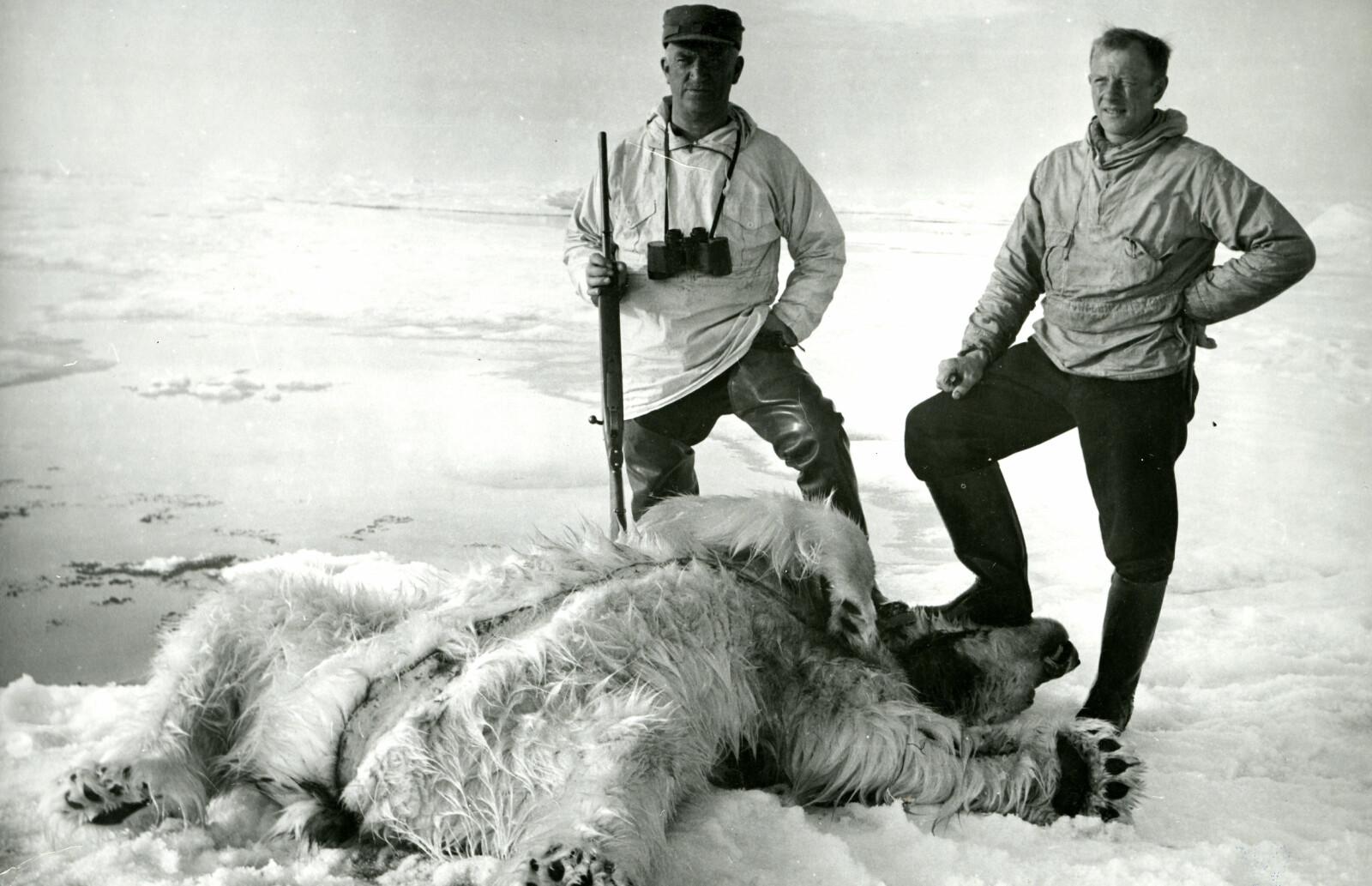 JEGER: Magne Råum (til høyre) og svenske Franz Walstein. Råum felte denne bjørnen fra skutedekket på vei inn mot Øst-Grønland i 1939. (Foto: Arneberg/ Norsk Polarinstitutt)