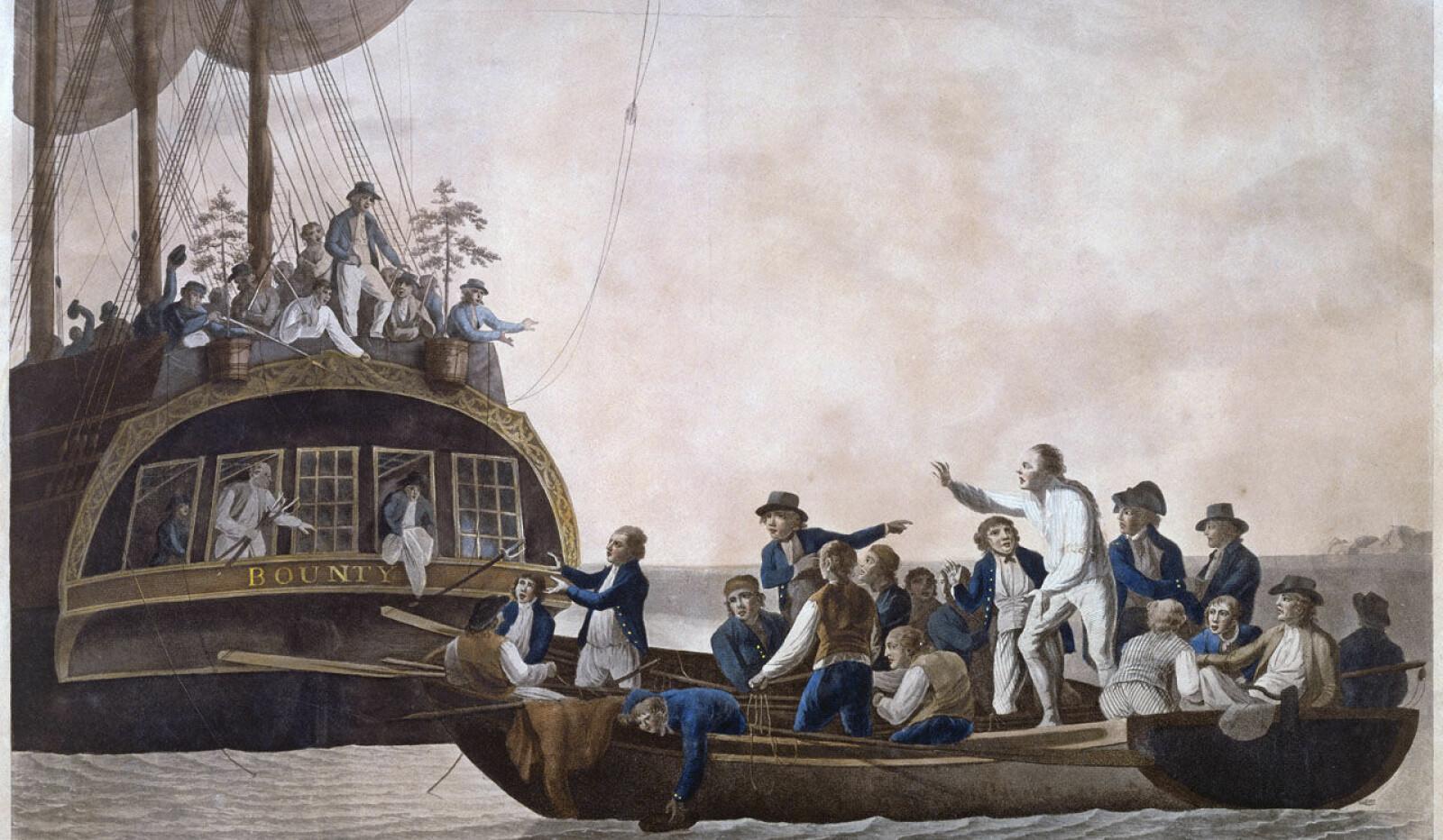 <b><SPAN CLASS=BOLD><STRONG>MYTTERIET PÅ BOUNTY:</b></strong> </span>Slik forestiller en kunstner seg mytteriet på Bounty i det kaptein Blight og den lojale delen av mannskapet overlatt til seg selv i en lettbåt.