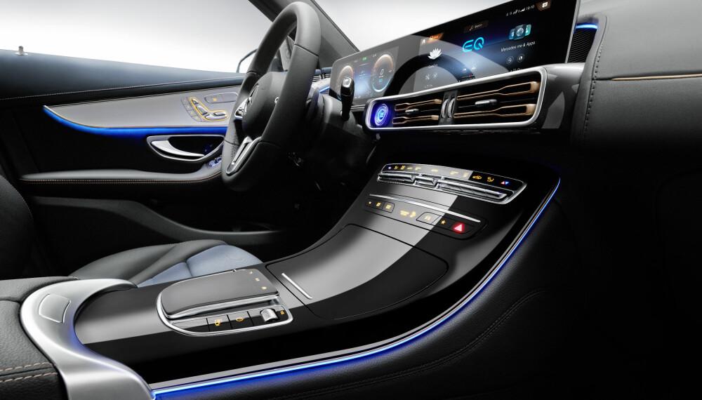 ELEGANT: EQC holder seg tett på skjermløsning og betjening fra tilsvarende Mercedes-modeller.