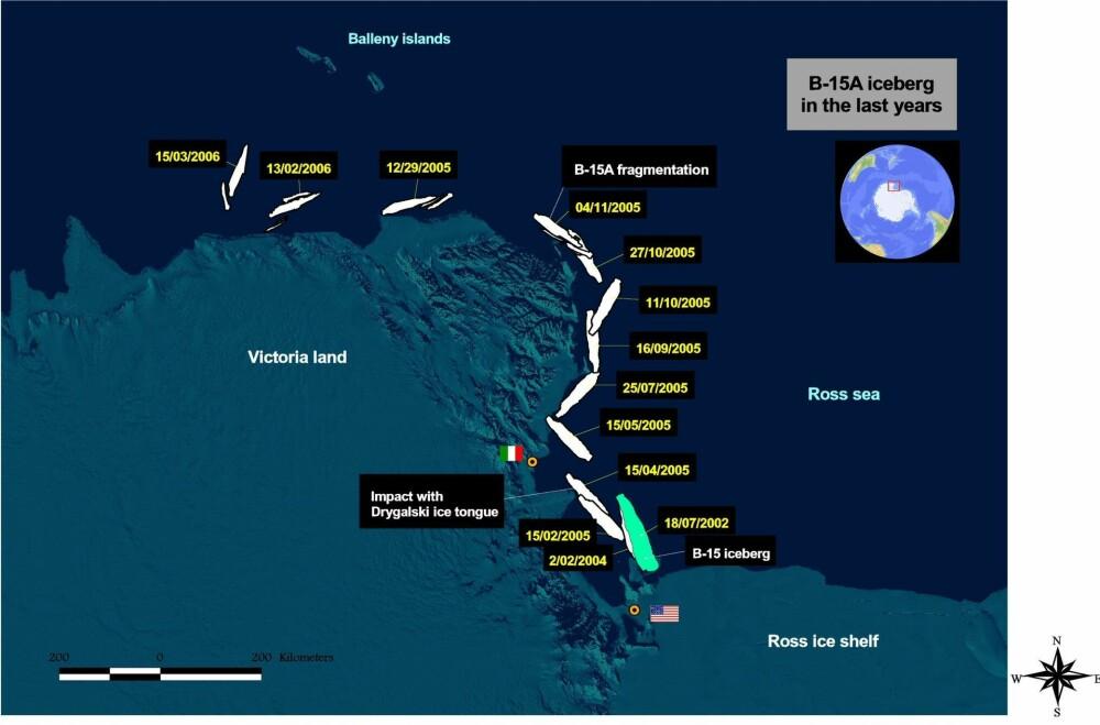 <b>REISERUTEN:</b> Her er reiseruten til isfjellet B-15 fra juli 2002 til mars 2006. Bildet viser også hvor isfjellet krasjet med Drygalski-istungen.