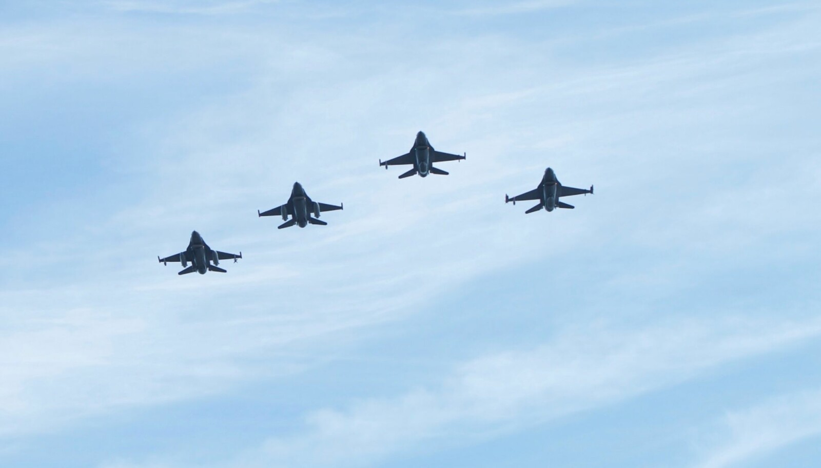 <b>MARKERING: </b> Overflyvning med fire F-16 jagerfly i forbindelse med Frigjørings- og Veterandagen 2018.