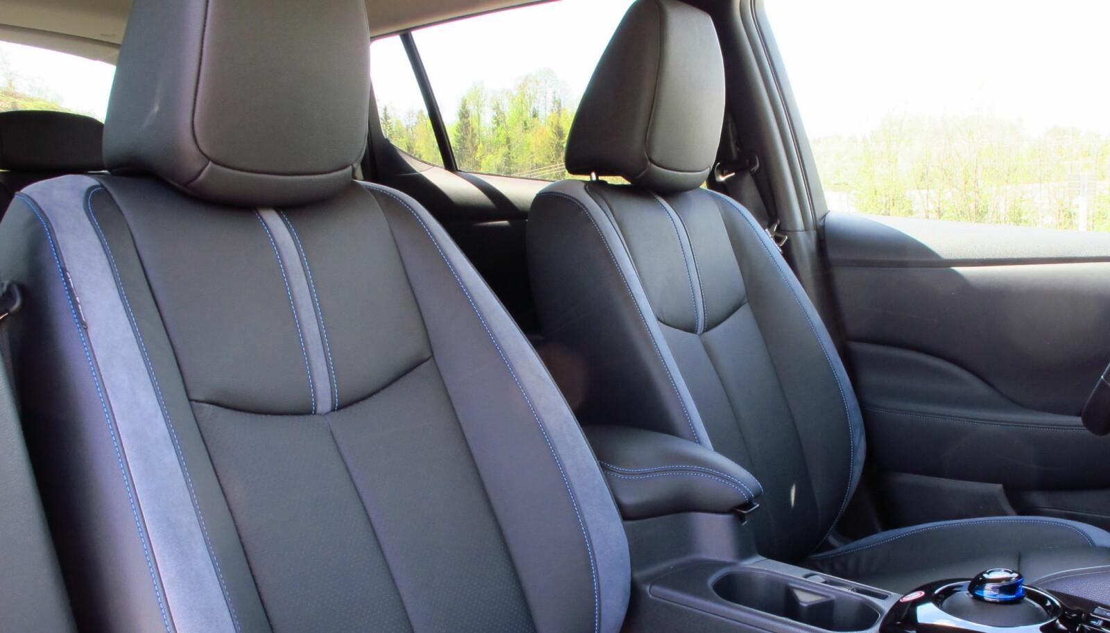 <b>VELKJENT: </b>Seter og innvendig plass er som før i Nissan Leaf 62 kWh e+.