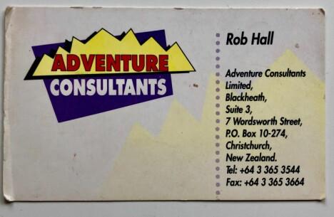 <b>FOR SENT Å RINGE:</b> Rob Halls visittkort, slik det ble overlevert i 1994.