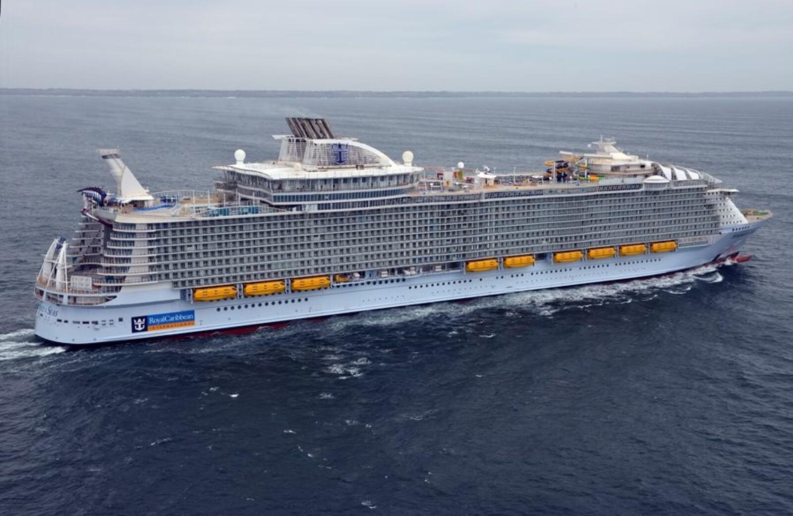 <b>GIGANT:</b> «Symphony of the Seas» er 362 meter langt. Til sammenligning er verdens største containerskip 400 meter langt.