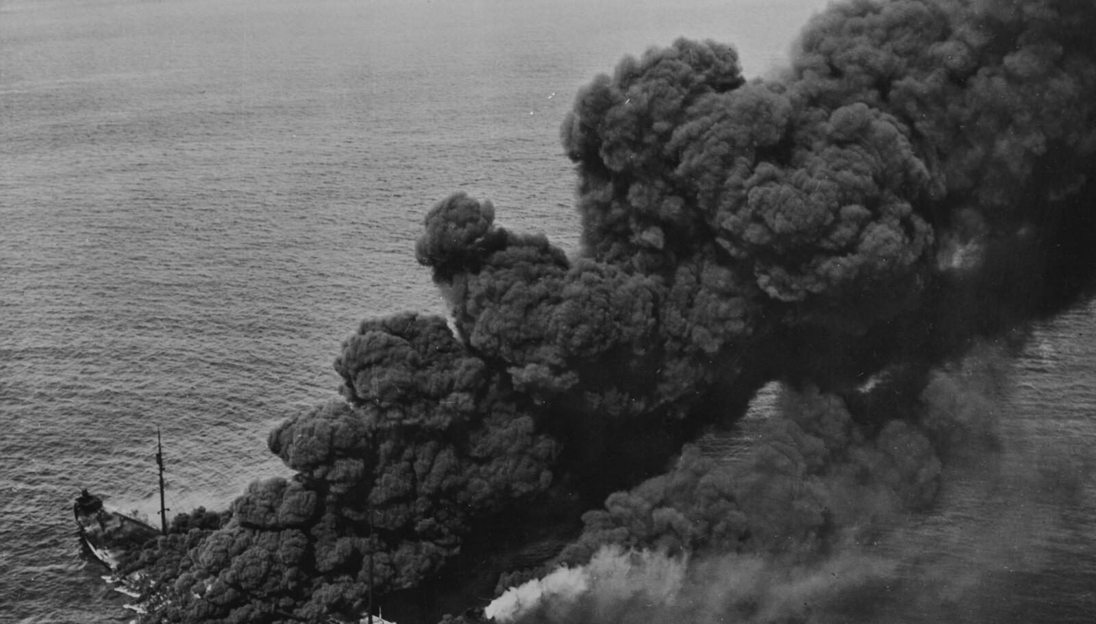 <b>FULL FYR:</b> I ubåtene ble det feiret om de klarte å få has på et tankskip. Her står Pennsylvania Sun i full fyr.