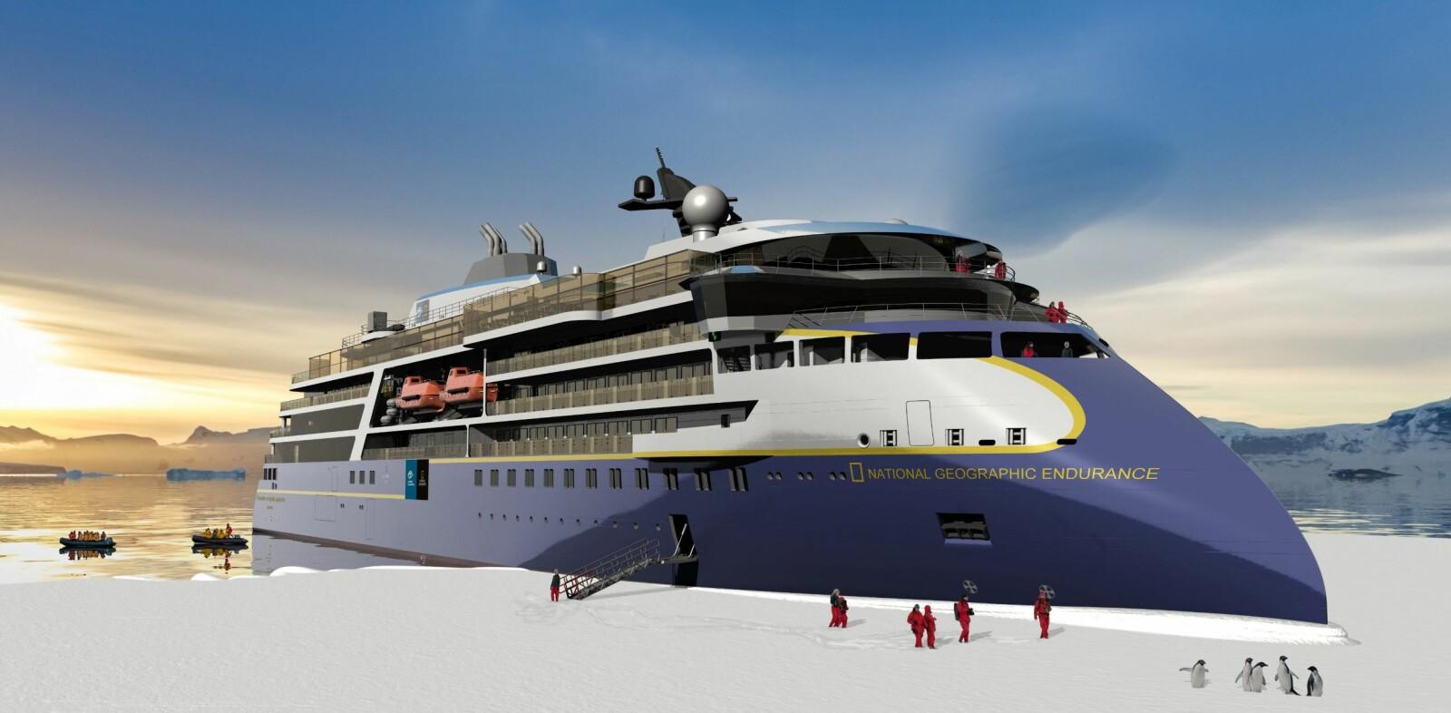 <b><SPAN CLASS=BOLD><STRONG>X-BOW:</b></strong></span> «National Geographic Endurance» skal ferdigstilles hos Ulstein Verft i Ulsteinvik og skal leveres i 2020.