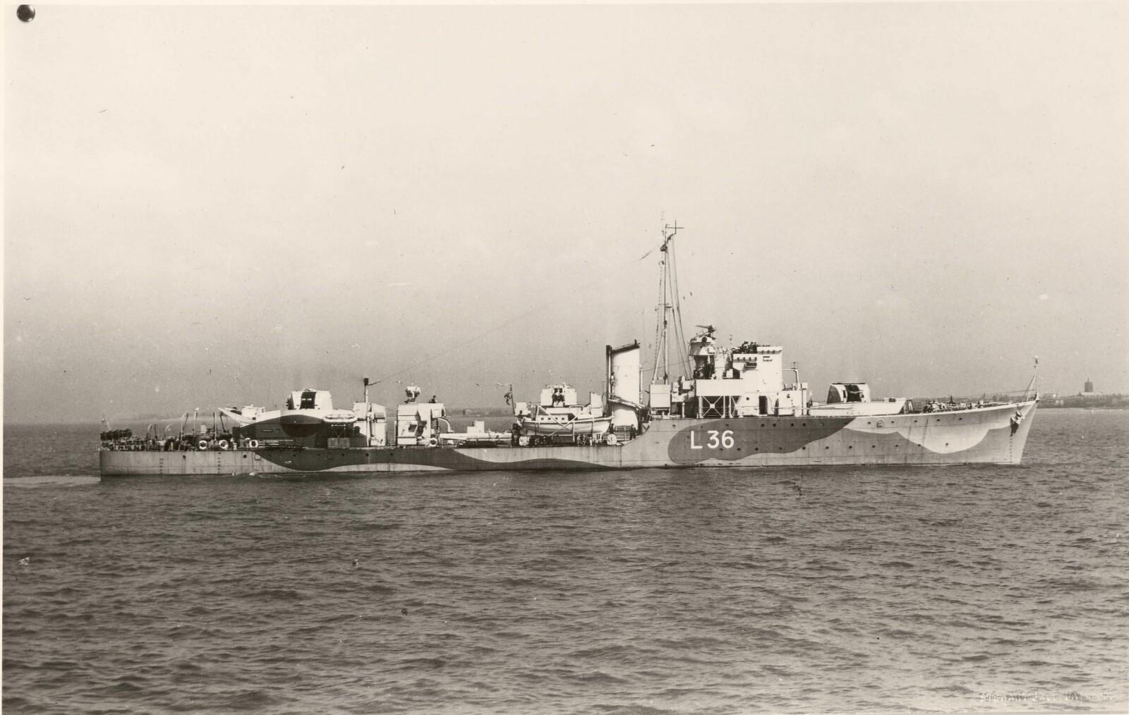 <b>TORPEDERT:</b> Jageren «Eskdale» ble torpedert mens Skule Valentin Storheill var kaptein om bord.