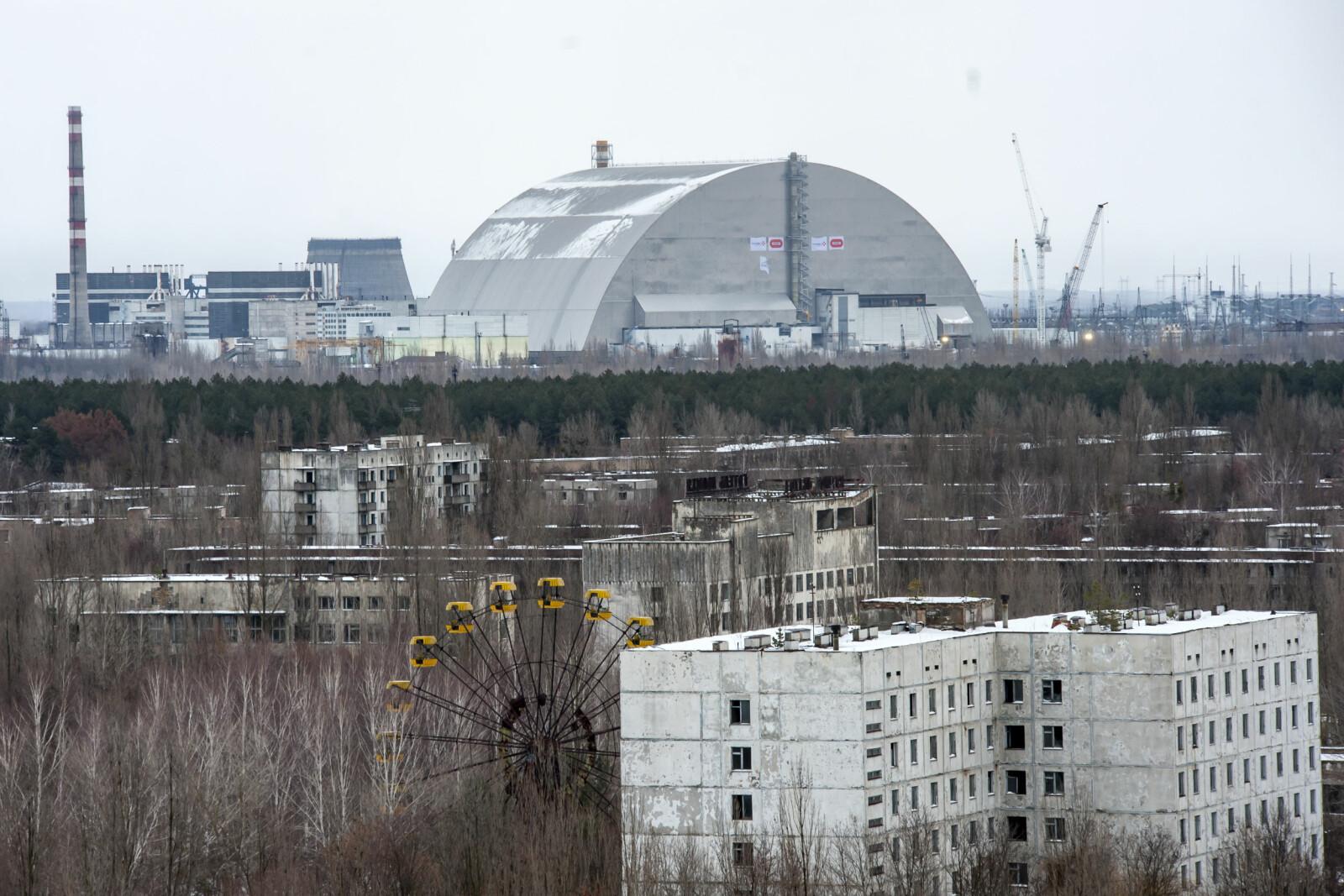 <b>ÅSTEDET:</b> Atomreaktor 4 dekket av jernskjoldet sett fra Pribyat.