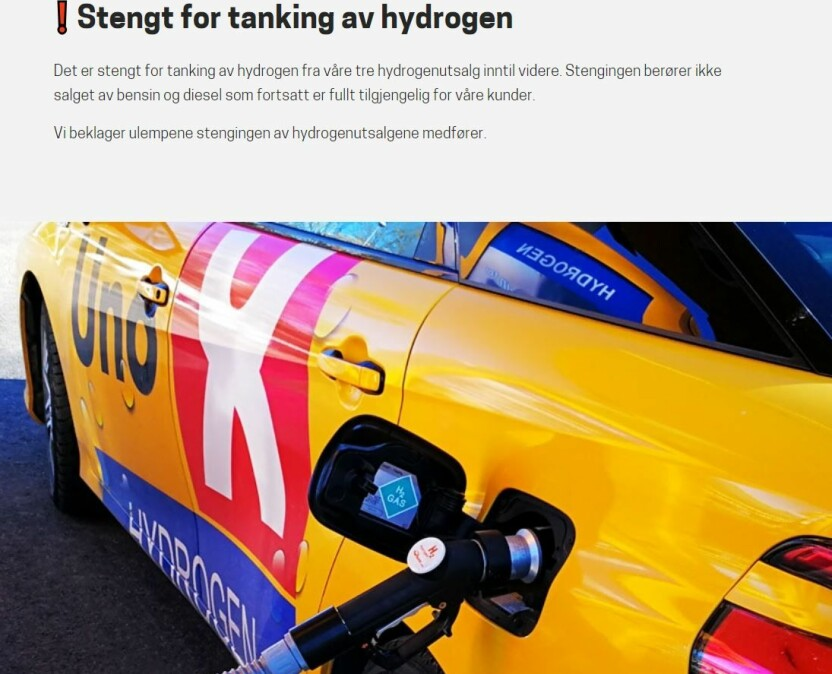 <b>STENGT:</b> Uno-X har stengt alle sine tre hydrogenstasjoner i Norge.