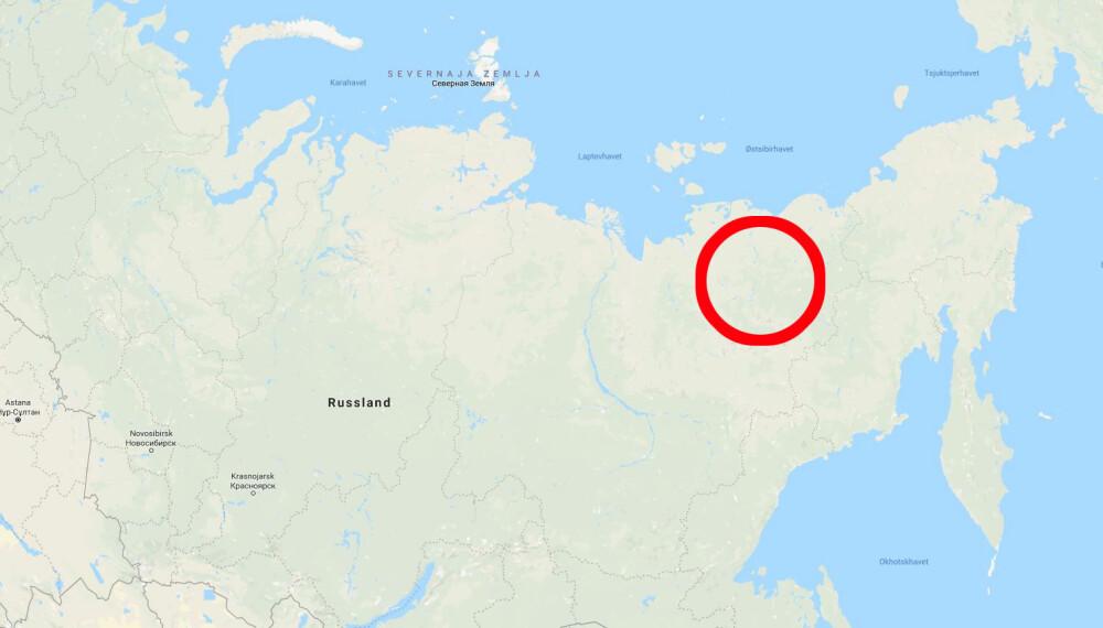 <b>ØST-SIBIR:</b> Kjempeulven skal ha blitt funnet i fjor i dette området i Øst-Sibir.