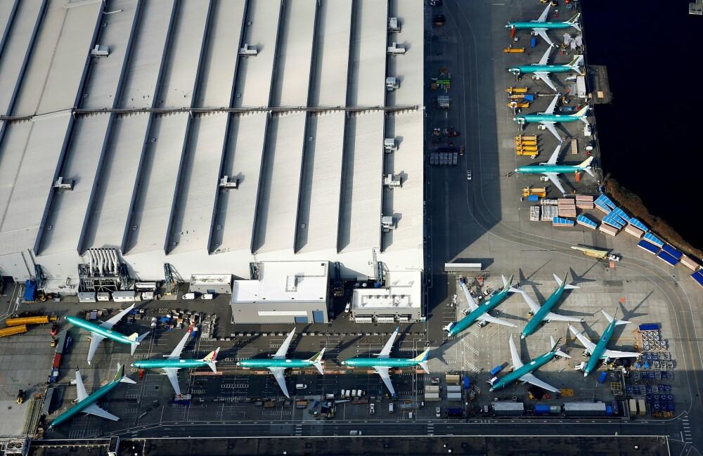<b>GROUNDED:</b> Inntil flyet er resertifisert står alle 737 MAX på bakken inntil videre. På Boeing-fabrikken i Renton er køen av produksjonsfly som ikke kommer i luften lang.