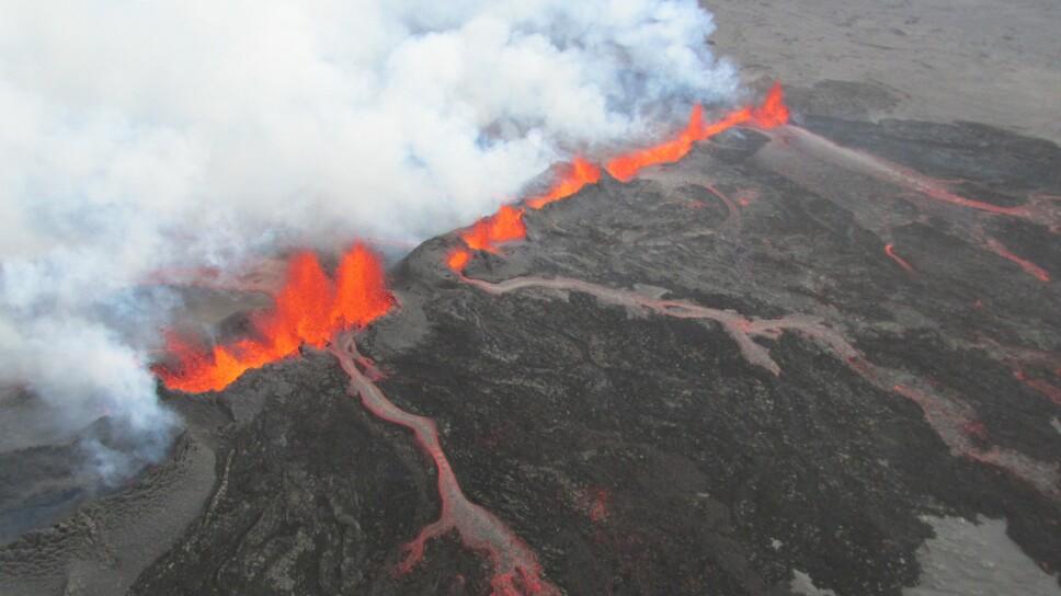 <b>HOLUHRAUN-UTBRUDDET:</b> Foreløpig det siste større vulkanutbruddet på Island, i september 2014.