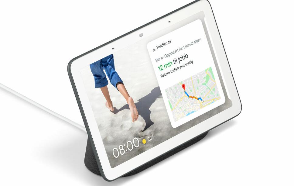 <b>KOMPAKT:</b> Google Nest Hub har en skjerm på syv tommer. En fin størrelse til bruk for eksempel på nattbordet.