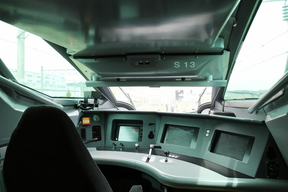 <b>KONTROLL:</b> Herfra styres ALFA-X. Konstruksjonen av togsettet skal gi minimal vibrasjon.