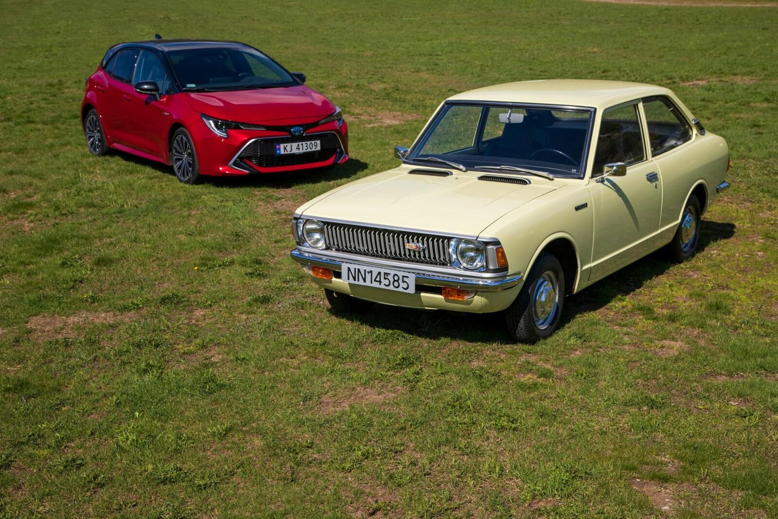 <b>BARE I NAVNET:</b> De heter Toyota Corolla begge to. Ellers er det få likheter når nesten 50 års bilutvikling ligger mellom dem.