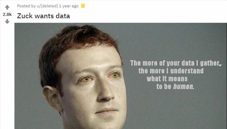 <b>MENNESKE:</b> Et eksempel på et Zuckerberg-meme, hentet fra Reddit. Nettstedet har en egen underkategori kalt «Zuckmemes»