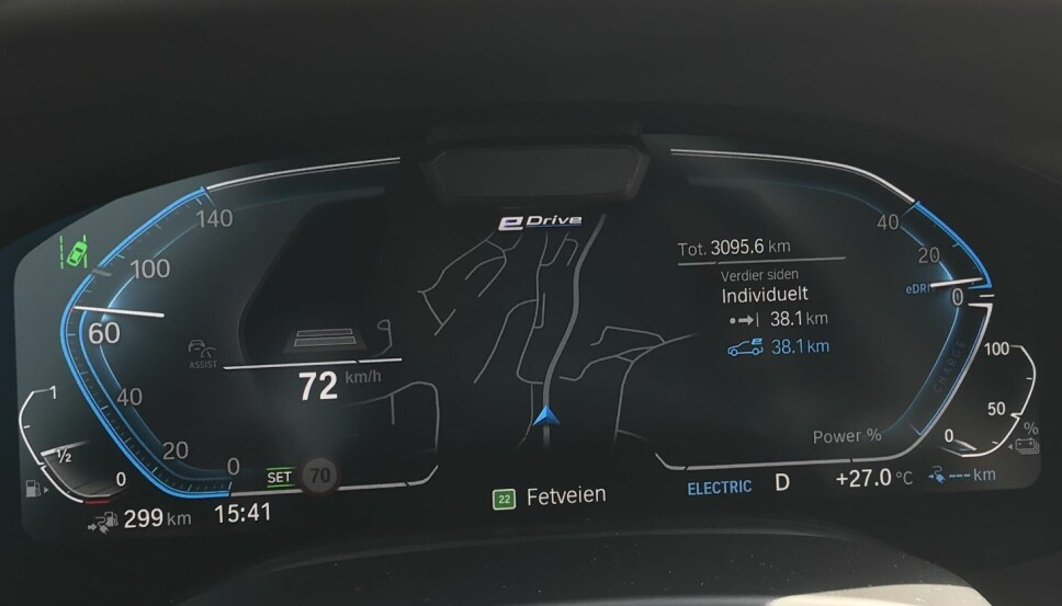 ELEKTRISK: Vi har passert 38 kilometer på ren eldrift på en dag da temperaturen viste 27 grader.