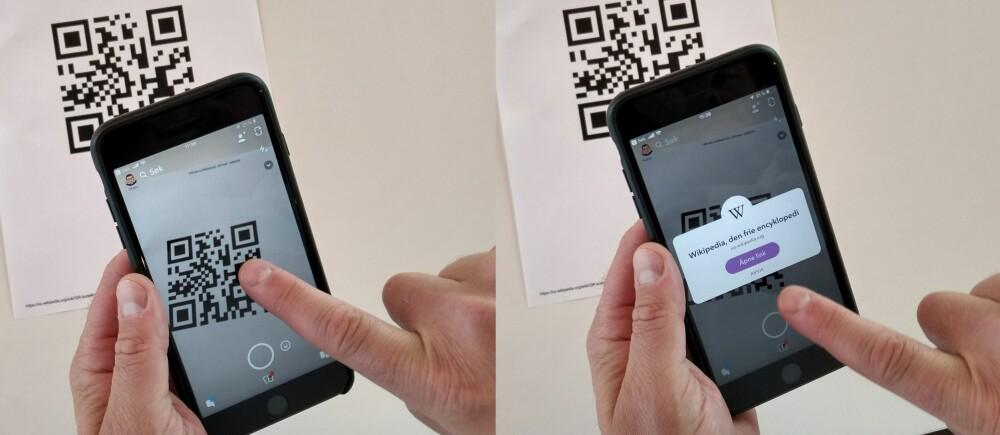 <b>QR-KODER:</b> Snapchat kan du også bruke til å lese av QR-koder.
