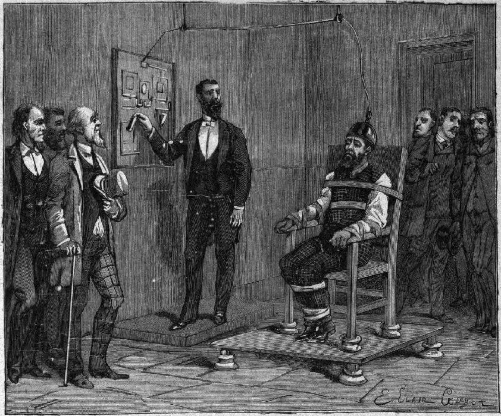 <b>FØRSTE HENRETTELSE:</b> Illustrasjonen viser den aller første gangen den elektriske stolen ble tatt i bruk ved dødsstraff. Den dødsdømte het William Kemmler, stedet var Auburn fengsel i delstaten New York, datoen var 6. august 1890.
