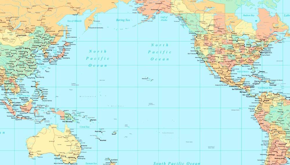 <b>KJEMPESTORT:</b> Stillehavet dekker et større areal enn alle landmassene på jorden til sammen.