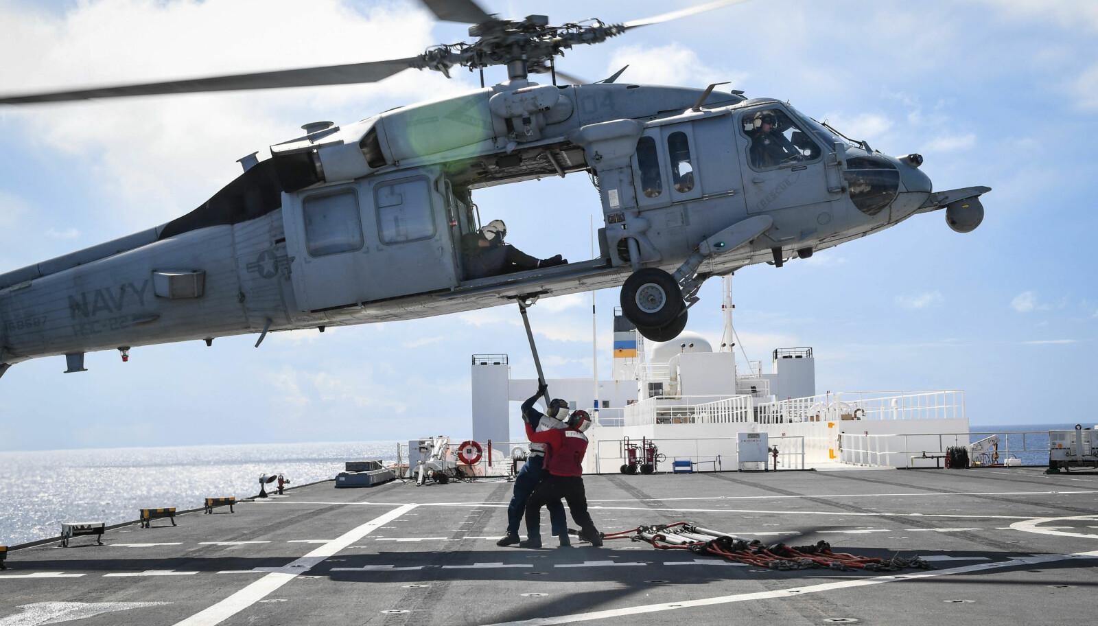 <b>PLATTFORM:</b> Et MH-60S Sea Hawk-helikopter i aksjon over dekket på USNS Comfort.