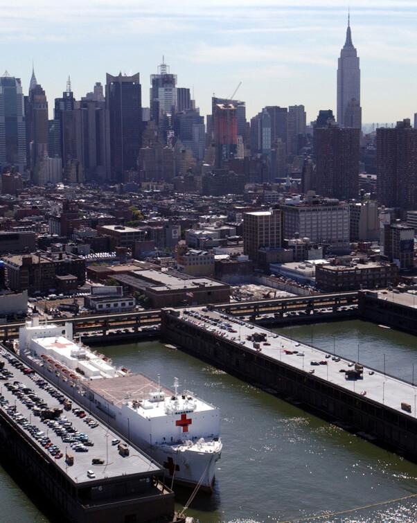 <b>EKSTRA SYKEHUSKAPASITET:</b> USNS Comfort ble sendt til New York og Manhattan etter angrepet på World Trade Center.