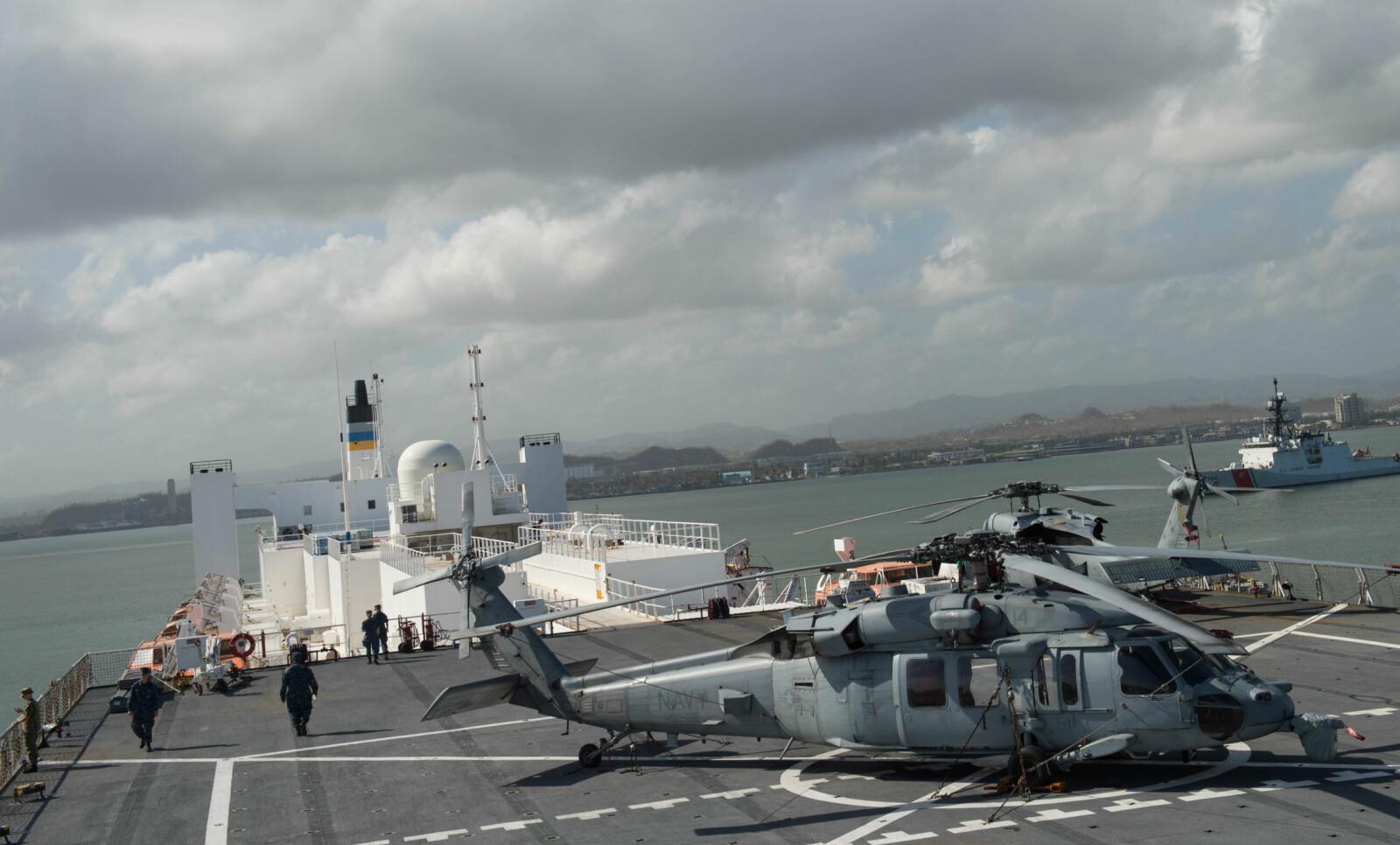 <b>ULEMPE:</b> At Mercy-skipene kun har ett helikopterdekk er blitt nevnt som skipenes svakhet, siden helikopter er den eneste måten å transportere pasienter på, når skipene er underveis, eller været er ekstra røft. Plassen på dekket er imidlertid relativt raus.