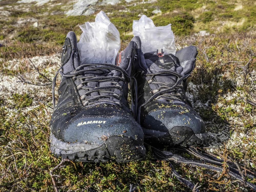 <b>GODT VALG:</b> Joggeskoene var et godt valg. De myke sålene sitter godt på underlaget, og man blir mindre sliten enn med tunge fjellstøvler.