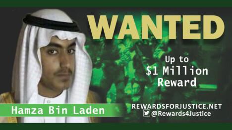 <b>VAR ETTERSØKT:</b> Tidligere i år utlovet USA en dusør på 1 million dollar til den som kunne bidra med informasjon som førte til pågripelse av Hamza bin Laden. I sommer ble han rapportert drept.