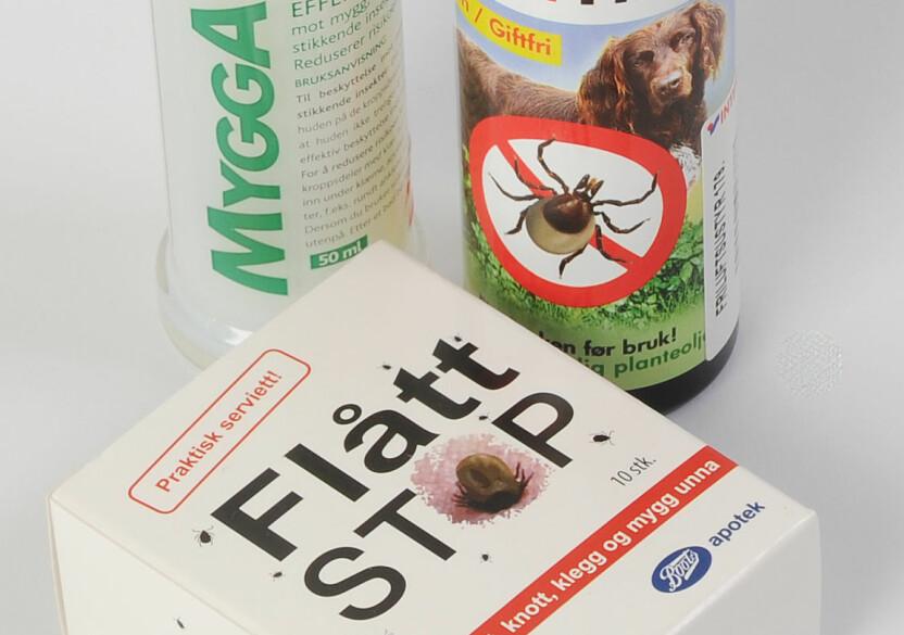 MOT FLÅTT: Det finnes flere middel som skal hindre flåtten i fåfeste seg.